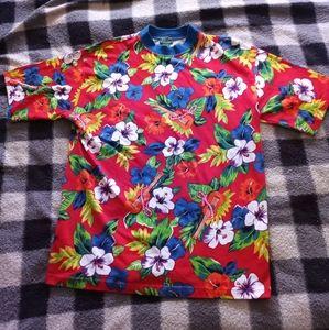 Rare 90's Izod Hawaiian Ringer T shirt